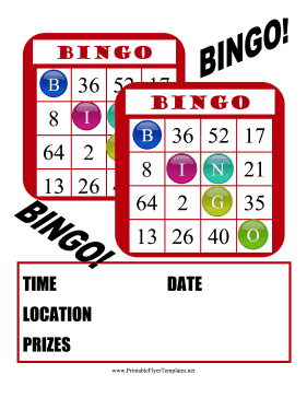 bingo flyer red bingo cards make up this fun event flyer for schools ...