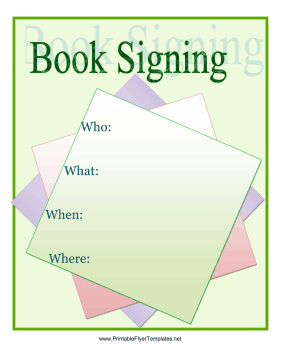 book signing flyer printable template
