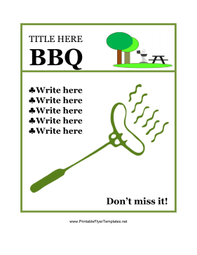 Flyer for BBQ Printable Template