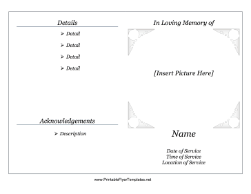 Memorial service pamphlet for Memorial pamphlets free templates