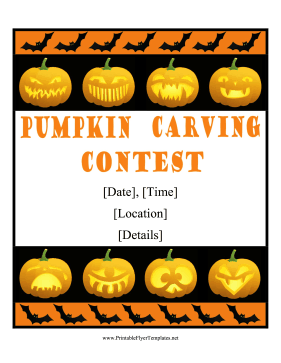 Pumpkin Carving Contest Flyer Template